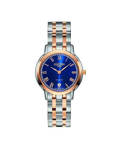 Roamer of Switzerland Women's 29mm Two Tone Steel Bracelet & Case Quartz Blue Dial Watch 515811 49 42 50