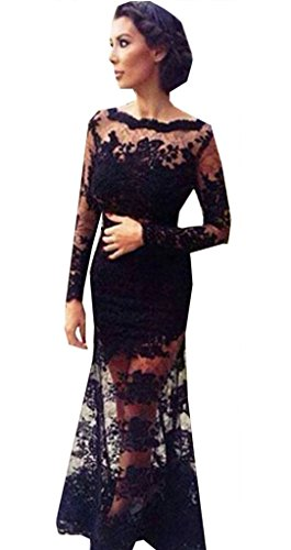 Buy-Box Women Sexy Boat Neck Long Sleeves Lace Splicing Backless Mermaid Dress