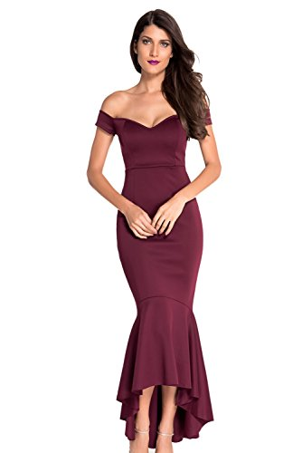 FiveFour Women's Red Off-shoulder Mermaid Jersey Evening Party Maxi Dress (Evening Take 5 Strapless Dress)
