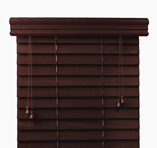 Arlo Blinds, Mahogany 2-Inches Customized Real Wood Horizontal Blind - Size: 55