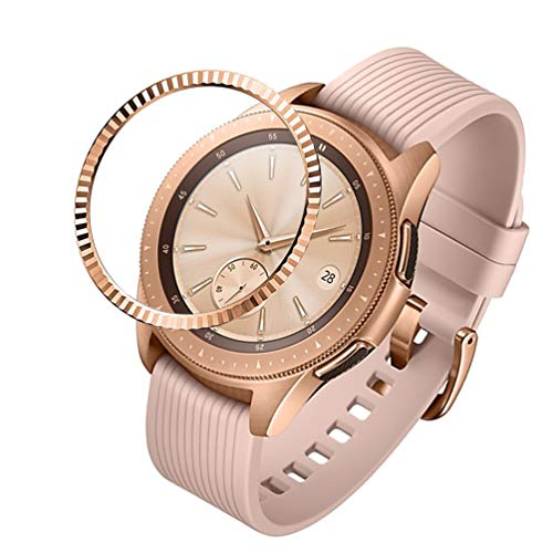 - Sankel Compatible for Samsung Galaxy Watch 42mm Bezel Ring,Gear Sport Bezel Cover,Adhesive Cover Anti Scratch Stainless Steel Protection Smart Watch Bezel for Galaxy Watch 42mm/Gear Sport (Rose Gold)