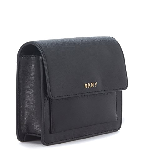 Borsa a tracolla DKNY mini in pelle saffiano nera
