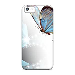 New Fashionable Mycase88 YLy26075lDGF Covers Cases Specially Made For Iphone 5c(blue Rose Butterflies)