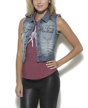 Wet Seal Women's Fray Stud Pocket Denim Vest XS Med Wash