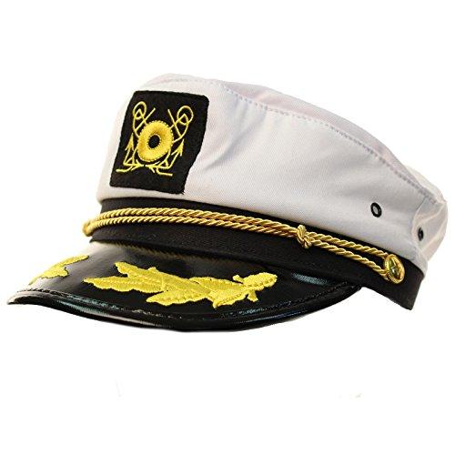 (Unisex Cotton Ship Boat Captain Fisherman Sailor Yacht Hat Cap Adjustable White)
