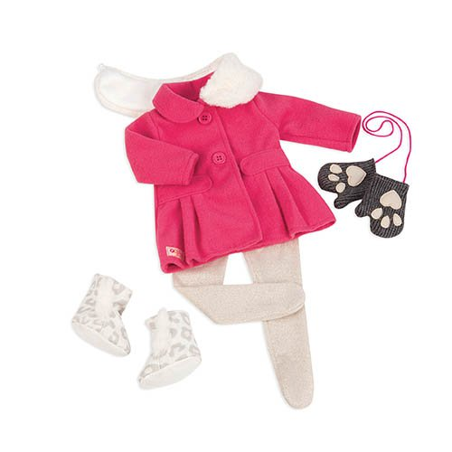 Our Generation Dolls Snow Sweet Winter Coat with Mittens Outfit for Dolls, 18