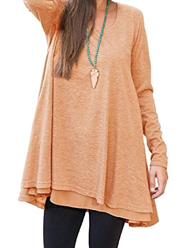 Loose Tunic Pure 2 Women Dress Comfy Stylish Top Swing Color Coolred ZBAwqF