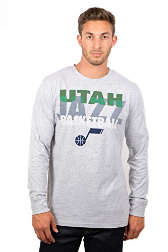 Ultra Game NBA Utah Jazz Men's Supreme Long Sleeve Pullover Tee Shirt, Medium, Gray (Sleeve Grizzlies Long)