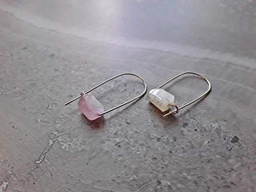 Pink Kunzite Modern Minimalist Drop Hoop Earrings Silver