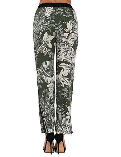 donna gamba larga floreale Pantaloni M a Wowulgar larga gamba elasticizzata con Pantaloni a stampa Blue Color Palazzo Green1 stretch Size da IxAxn7wq06