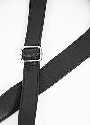 w Women's Pocket Tassel Alexis Body Leather Black Bag Detail Soft Cross Grained 8nfwgB8qr