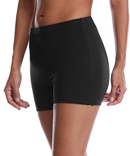 maysoul Women Wide Waistband Tankini Swimsuit Boyshorts Solid Beach Board Shorts 12 Black