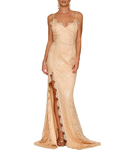 (Lalagen Women's Floral Lace Split Long Formal Wedding Dress Evening Gown Nude L )