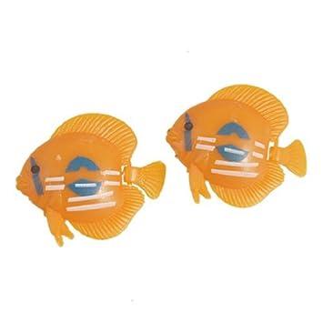 eDealMax 2-pieza de plástico acuario de agua flotante contoneantes cola Peces ornamento, Naranja