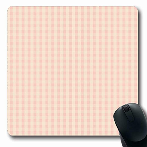 Tobesonne Mousepads Gingham Pink Plaid Pattern Vintage Picnic Tartan Checkerboard Bistro Checks Design Grunge Oblong Shape 7.9 x 9.5 Inches Non-Slip Gaming Mouse Pad Rubber Oblong ()