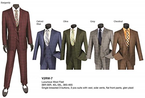 Venci 2 Button Glen Check Regular Fit Suit with Vest V2RW-7-Olive-40L -