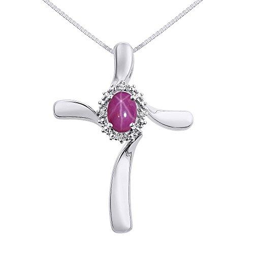 Diamond & Star Ruby Cross Pend