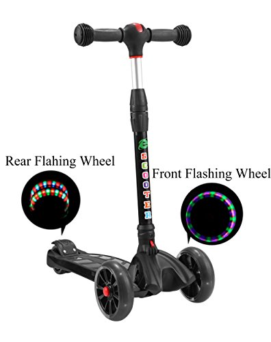 Price comparison product image QSHS Kids Kick Scooter,3 Flashing PU Wheels Alluminum T-bar 4 Heights Adjustable Handle Kick Scooter with Wide Glider Deck Rubber Handle Rear Brake Pedal for Children 3-14 Years Old