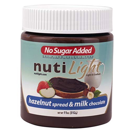 Nutilight No Sugar Added Hazelnut Spread and Milk Chocolate 11 Ounces (2 Pack)