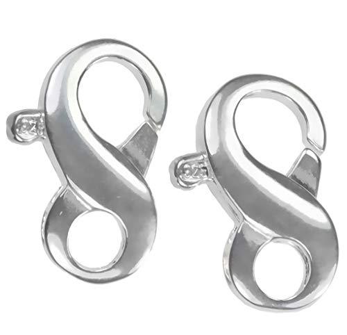 (uGems 2 Sterling Silver Medium Infinity Clasp 7x13mm)
