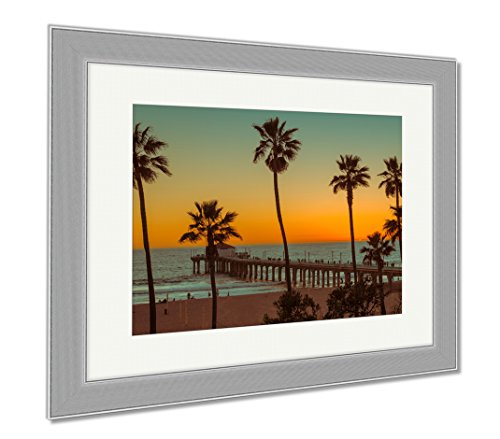 Ashley Framed Prints Palm Trees On Manhattan Beach And Pier At Sunset In California Los Angeles USA, Wall Art Home Decoration, Color, 30x35 (frame size), Silver Frame, AG6436027 by Ashley Framed Prints