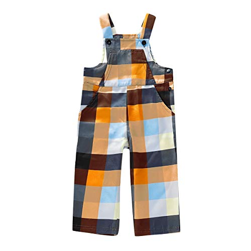 Toddler Baby Girl Plaid Outfit Romper Jumpsuit Little Baby Suspender Trousers Sleeveless Overalls Summer Clothes 1-5T (Orange Plaid, (Best Summer Infant Toddler Cds)