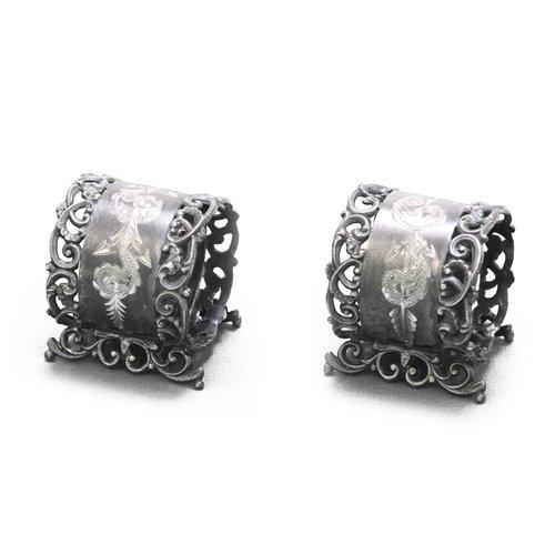Napkin Rings, Pair, Silverplate Victorian