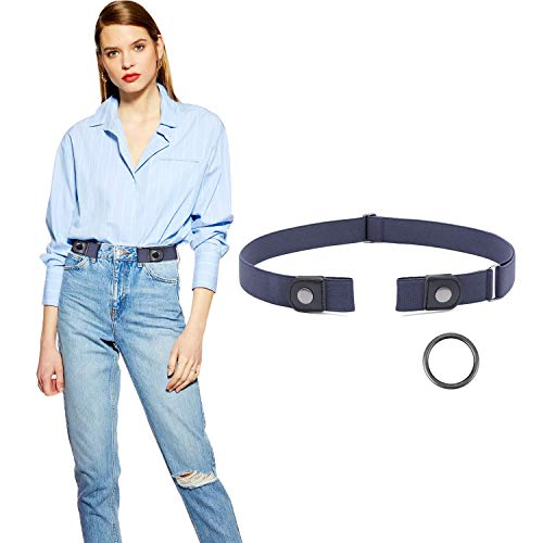 No Buckle Belt, JASGOOD Buckle Free Stretch Belt for Women and Men Jeans Pants(Suit for Pants Size 33-50 Inches,Gun Color Snap-Blue) (Best Jeans For No Booty)