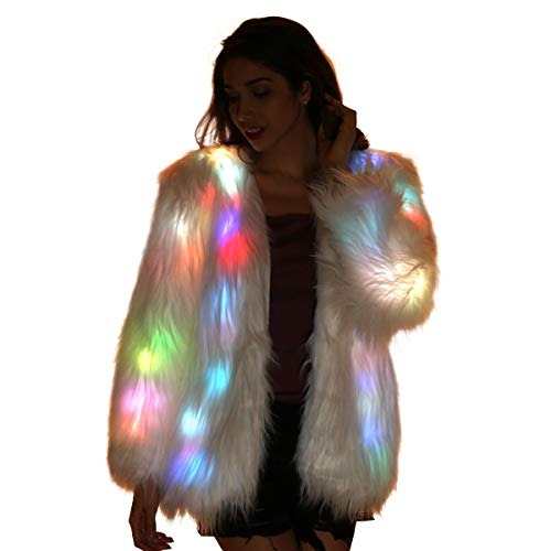 Light Up Jacket Fur Coat for Women LED Glow White Fuzzy Faux Fur Burning Man Costumes Rave Clothes (Medium)]()
