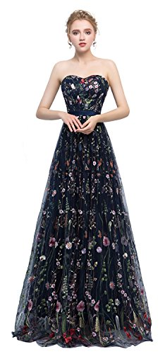 's Formal Dress Flower Embroidery Prom Party Dress Elegant Long Evening Gown (8, 626-navy Blue) ()