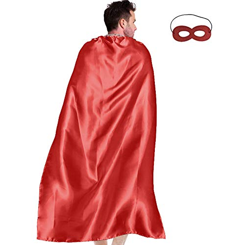 Men & Women's Superhero-Cape or Cloak with Mask for Adults Party Dress up Costumes (Red) -