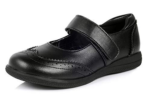 Aniaca Girl's Mary Jane Shoes Black School Uniform Flats with Brogue Detail, Black, 8 Toddler
