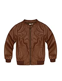 Encontrar Boys Faux Leather Jacket Trendy Stand Collar Coat 3T-14