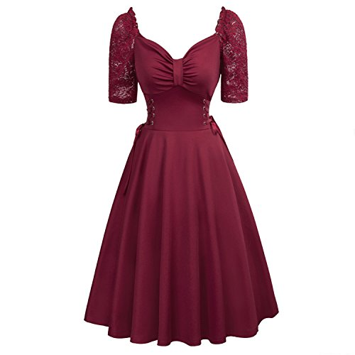 Women Summer Gothic Dresses Lace-Up Corset V-Neck Half Sleeve Retro Vintage Sexy Black Party Punk Dress,Wine Summer Dress 2,S]()