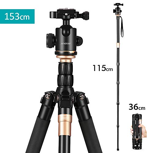 Andoer Tripod-60 Inch Compact and Light Weight Aluminum Alloy Monopod Unipod with 360 Degree Ball Head Quick Release Plate for Travel and Work