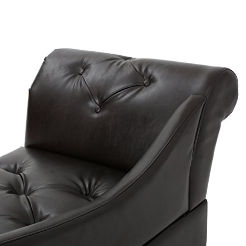 Antonina Plush Tufted Traditional Chaise Lounge (Brown Leather)