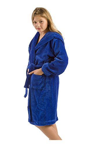 Cover Up Robe (robesale Hooded Bamboo robes for Kids, Cotton Bathrobes, Size Large, Royal Blue)