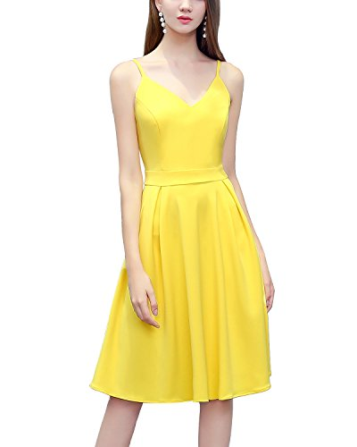 Bridesmay Robe Vintage Robe de soire de Cocktail col en V Bretelles Spaghetti Yellow