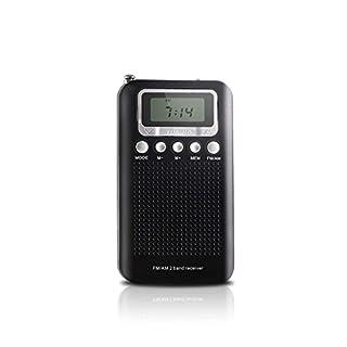 AM FM Portable Pocket Transistor Radio, Battery Operated Digital Alarm Clock Radio with 3.5mm Headphone Jack, Stereo Mode, Memory Mode and Sleep Timer