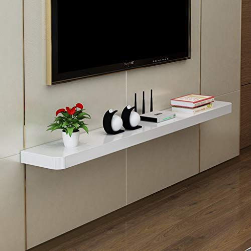 Wall-Mounted TV Cabinet Floating Shelf Wall Shelf Multimedia WiFi Router Sky Box Set Top Box Cable Box Storage Shelf (Color : White, Size : 100cm)