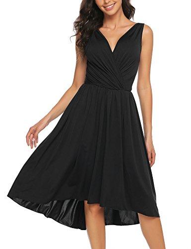 BURLADY Women Chic Sleeveless Deep V-Neck Dress Pleated Waist High Low Swing Skirt Black (Petite V-neck Skirt)