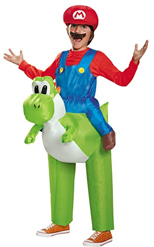 Disguise Boy's Super Mario Inflatable Yoshi Theme Outfit Child Halloween Costume, Child M (7-8)