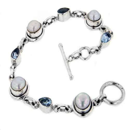 Sterling Silver Genuine Blue Topaz and Cultured Freshwater Pearl Gemstone Toggle Bracelet - 7.5