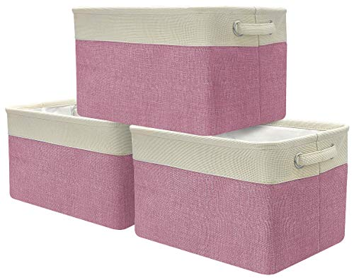 Sorbus Storage Large Basket Set [3-Pack] - Big Rectangular Fabric Collapsible Organizer Bin with Carry Handles for Linens, Towels, Toys, Clothes, Kids Room, Nursery (Cream White Trim - Pink)