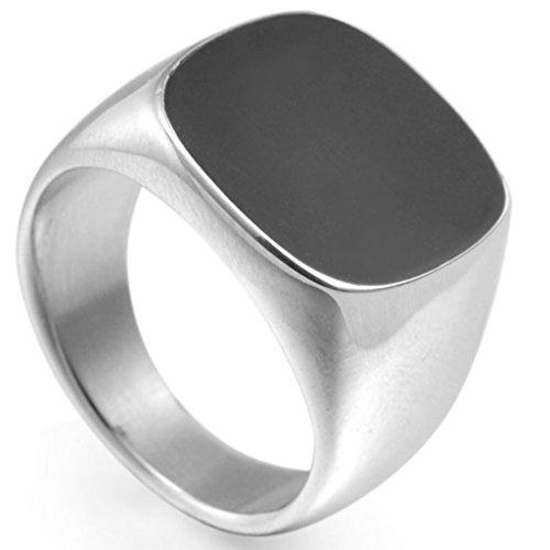 Bague chevalière en émail noir en acier inoxydable Jude Jewelers (9.5)
