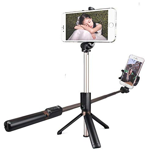 MAONO Selfie Stick Tripod AU-Z06 Integrated Stand with Extra Silicone Phone Stand Bluetooth Remote, Extra Cell Phone Stand, Portable Monopod for iPhone X, 8, 7/7 Plus/6 Plus/6S Plus, Samsung Galaxy