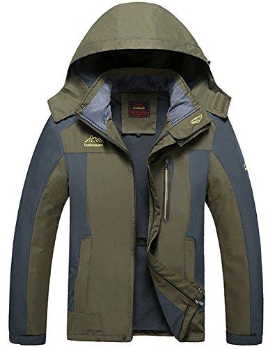 Menschwear Men's Hooded Jacket Insulated Raincoat Waterproof Fleece Lined Softshell (Green,XL)