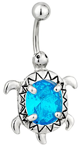 Jeweled Sea Turtle - Surgical Steel Aqua Blue Jeweled CZ Sea Turtle Animal Belly Button Ring