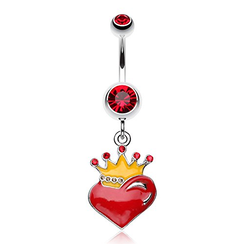 Vibrant Crowned Heart Sparkle Belly Ring (Red)