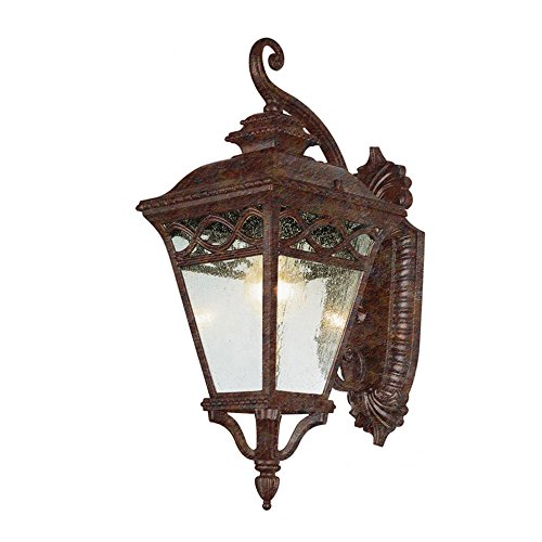 Transglobe Lighting 50510 RT Outdoor Wall Light with Seeded Glass Shade, Rust Finished (Spanish Lights Patio Style)